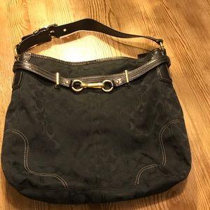 COACH Carly Satchel Handbag Black w/ gold 👌